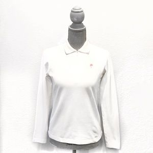 Lilly Pulitzer White Long Sleeve Polo Shirt Small